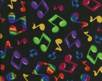Shamash & Sons Quilting Cotton Fabric Black with Music Notes 130553 - 1/2 Yard