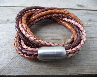 Leather Bracelet 'Miami' with magetic clasp