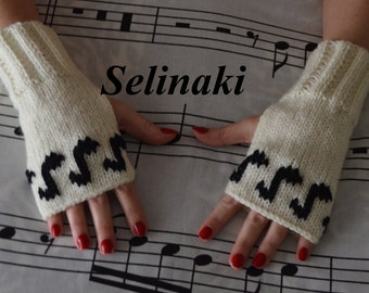 Knit Music Notes Fingerless Gloves Cream White Mittens Hand Wrist Warmers