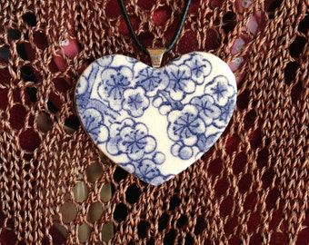 Blue and White Ceramic Heart Shaped Flower Pendant