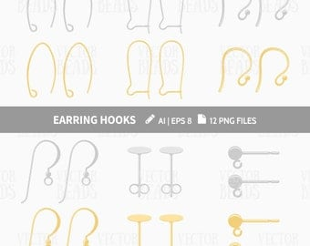 Earring Hooks Clip Art Set - Earring Wires - French Hooks - Ear Findings Vector Graphics - ai, eps, pdf, png
