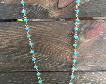 Turquoise rosary layering necklace