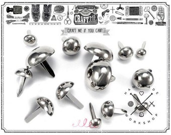 50PCS 18MM NICKEL Round dome purse feet studs NAILHEADS.