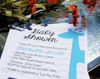 NEW Boy Baby Shower Invitation - Baby Shower Invitation - Giraffe Baby Shower Invitation [Download or Printed]