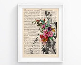 Human Anatomy / Flowers Torso Upcycled Page, Vintage Illustration Print, Wall decor, Decorative Art, Retro Poster Vintage Book print 087