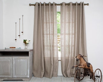 Pair Linen Curtain Panels-Curtains-Natural Pair Curtains-Linen Window Panels- Window Curtains with Grommet -Custom length x 55''(140cm)