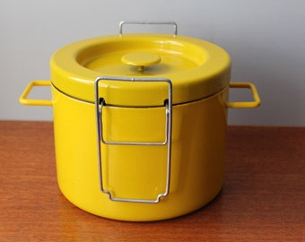 Vintage Mid Century Modern Yellow Enamel Copco Deep Fryer Or Stock Pot With Basket. Michael Lax Switzerland.
