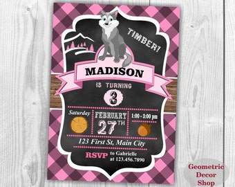 Lumberjack Birthday Party Invite First Birthday Wilderness Pink Plaid Lumber Jack Invitation Rustic Great Wolf Lodge buffalo Girl BDLJ20