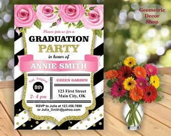 Graduation Invitation Graduation Open House Party High School, College Invite Pink Gold white black stripes photo Girl Flowers GRF1