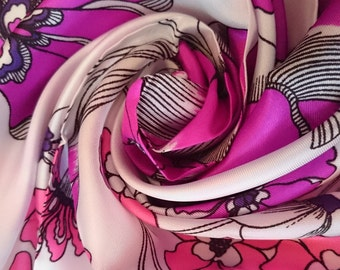 Vintage Italian Scarf - Stunning Floral design in Satin - Unused and Perfect From 1970s Stock