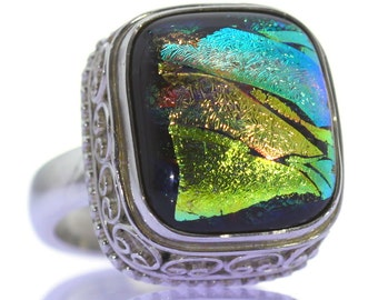 Dichroic Glass Ring, 925 Sterling Silver, Unique only 1 piece available! SIZE 7.50 (inner diameter 17.67mm), color multicolour, weight 16g
