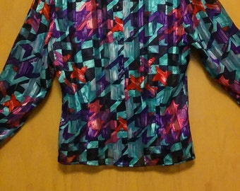 Clearance was 29 now 20.80s/90s Authentic Vintage Sheer Geometric Blouse by Tess