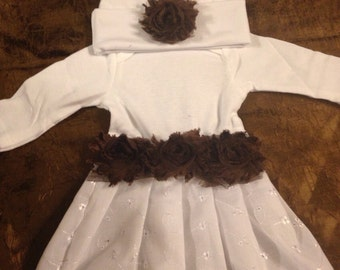 Shabby Chic Chocolate Brown Baby Gown