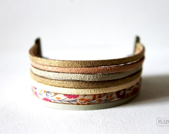 Multi row Cuff Bracelet liberty suede