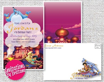 Personalized Aladdin 5.5x8.5 Birthday Invitations or Announcements