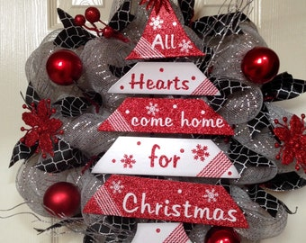 Black, white and red christmas wreath, black and white party christmas wreath