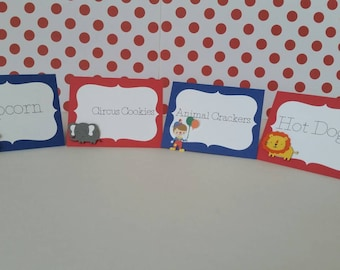 10 Carnival or Circus Place Cards/ Buffet cards, County Fair Place cards