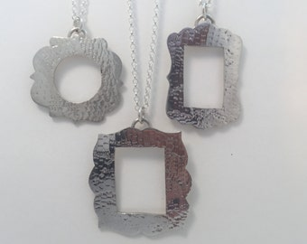 Silver Frame Pendant Necklaces