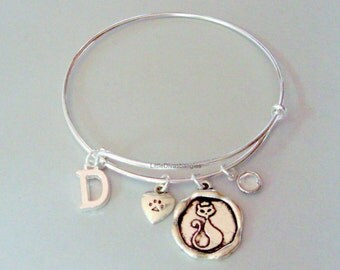 Adjustable CAT CHARM  Bangle / Initial  /  Cat Paw /Birthstone  / Animal Jewelry - Gift For Her / Jewelry /  Under Twenty  20 - Usa P1
