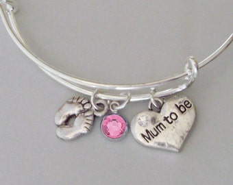BABY Feet / MUM To Be  Charm W/ Birthstone Crystal/  New Mother Adjustable Silver Bangle  / Baby Shower Gift  - Under 20  USA -  NM1