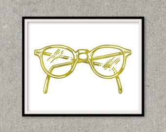 glasses frames, Gold Foil Art, Eye Glasses Print, Gold Eyeglasses, Foil Wall Art, glasses art