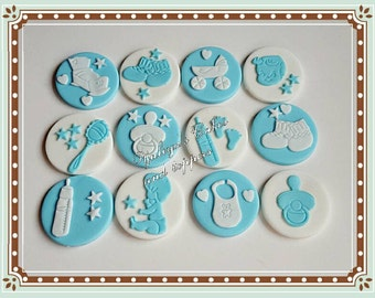 12 Edible baby cupcake toppers,christening/baptism