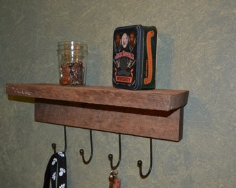 Rustic Shelf with Hooks