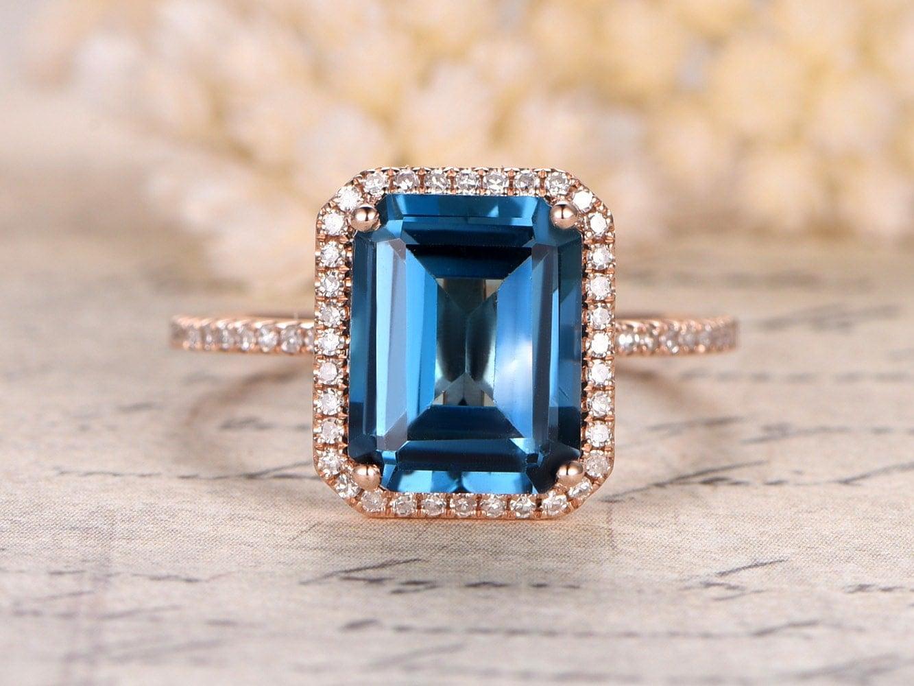 London Blue Topaz Ring8x10mm Emerald Cut Topaz Engagement
