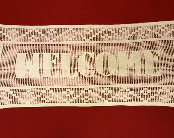 Large Filet Crochet Welcome Sign - Unique Handmade Home Decor