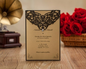 Black laser cut invitation with jewel