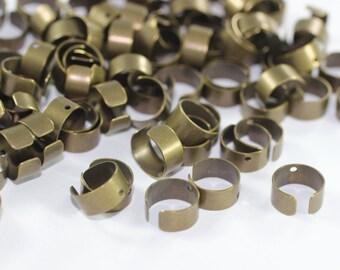 80 Pcs Antique Bronze Ear Cuffs, Unplated, with hole 10mm No Piercing Ear Cuff - Ear Wrap - Ear Rings - Cartilage Earring GNC 069