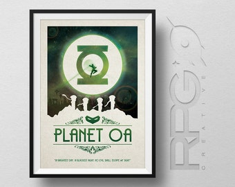 Green Lantern Origin Print : Planet Oa - DC Comics