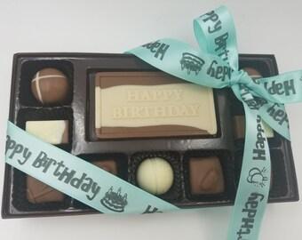 happy birthday handmade milk chocolate truffle gift box