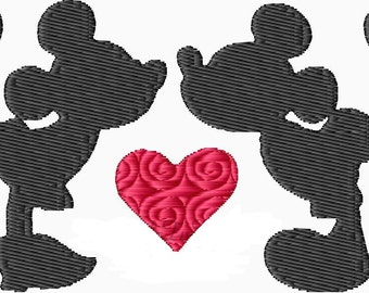 Minnie and Mickey Mouse Kissing Silhouette MACHINE Embroidery Design