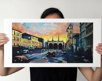 Odeonsplatz in Munich art print - urban landscape - 60 x 30 cm