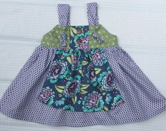 Girls Toddler Fall Apron Knot Dress- Ellie