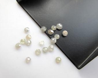 10 Pieces, 2mm White Rose Cut Diamond, Rose Cut Cabochon, Excellent Cut/Height/Lustre/Calibrated Rose Cut Diamond, SKU-RCD24