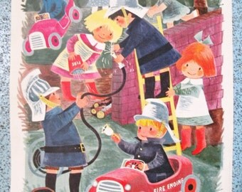 1960s Children's Book Illustration. Original Colour Print From A Children's Annual. Firemen Picture.