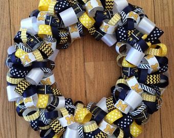 University of Michigan Wreath-Michigan Wreath-Michigan Ribbon Wreath-Michigan Wolverines Wreath-Michigan Decor