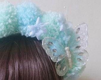 Lindy - mint green pom pom headband