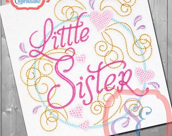 LITTLE SISTER SWIRLY Design For Machine Embroidery -  Instant Download