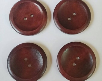 Large Dark Wooden Buttons x 4 1.5""