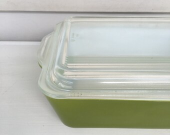 Vintage Pyrex 503 - Fridge Dish - Green -With lid - 1.5 QT - #20