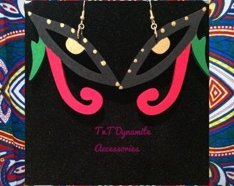 wood jewelry // wood earrings // eye of horus earrings // eye of rs earrings // rbg jewelry // earrings // african earrings