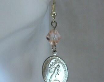 Peach Queen Elizabeth Earrings