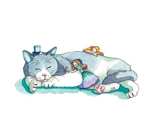 Sleeping kitty-Illustration print 4*6
