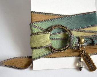 Silk Wrap Yoga Bracelet, Yoga Wrap Bracelet, Silk wrap charm bracelet,  Wrap Bracelet, Silk Wrap Bracelets, Yoga Bracelets, Wrap Bracelets