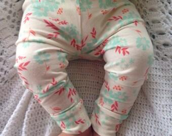 Mint floral baby leggings