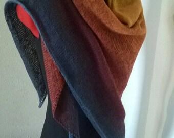 Handknit large wrap/shawl limited edition yarn blue, red, orange,yellow *ready to ship*