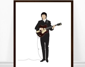 George Harrison Print, Beatles Art Print, Beatles Art, Beatles Print, The Beatles, George Harrison Minimalist Print